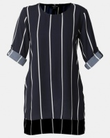 cathnic By Queenspark cath.nic By Queenspark Stripe High Low Woven Top Navy Photo