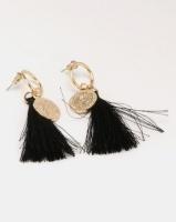 Miss Maxi Disk Tassle Earrings Black/Gold Photo