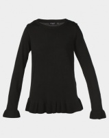 Brave Soul Peplum Jumper With Flute Sleeve Black Photo