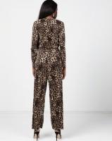 London Hub Fashion Pliss Wrap Front Jumpsuit Leopard Print Photo