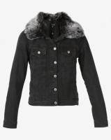 London Hub Fashion Faux Fur Collar Button Front Denim Jacket Grey Photo