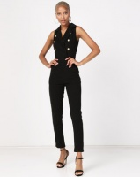 AX Paris Sleeveless Jumpsuit With Military Buttons Black Photo