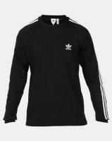 adidas Originals Mens 3 Stripe LS Tee Black Photo