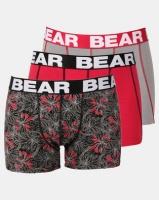 Bear 3pk Techno Flower Print Bodyshorts Red/Grey Photo
