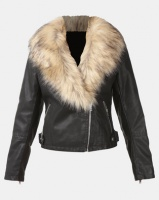 New Look Leather-Look Faux Fur Collar Jacket Black Photo
