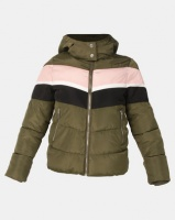 New Look Colour Block Puffer Jacket Khaki Photo