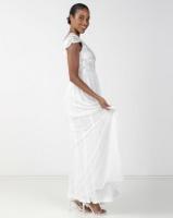 City Goddess London Embroidered Bodice Wedding Maxi Dress with Cap Sleeves Cream Photo