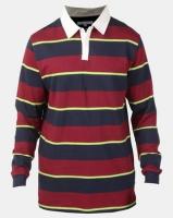 Bellfield Yarn Dyed Stripe Rugby Shirt Navy Photo