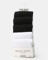 Brave Soul Zoe 5 PK Plain Socks Black/White Photo