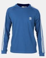 adidas Originals Mens 3 Stripe LS Tee Blue Photo