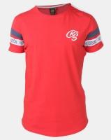 Crosshatch Chivan Taped Sleeve T-Shirt Red Photo