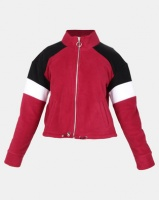 New Look Colour Block Fleece Jacket Dark Burgundy Photo