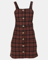 New Look Check Button Front Pinafore Dress Brown Photo