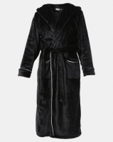 Lila Rose Lux Velour Hoodie Robe Black Photo