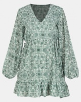 All About Eve Nomad Printed Floaty Dress Green Photo