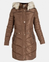 Sissy Boy Longer Length With Faux Fur Puffer Jacket Taupe Photo