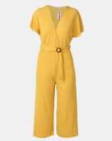 Legit Batwing Sleeve Jumpsuit With Tortoise Shell Buckle Mustard Photo