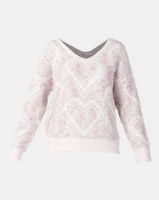 Legit V-Neck Pullover In Jacquard Heart Pink Animal Photo