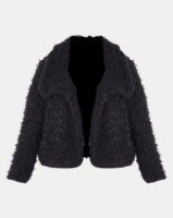 Slick Saskia Crop Faux Fur Jacket Black Photo