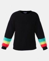 Utopia Jumper With Fluffy Trim Black Photo
