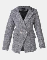London Hub Fashion Military Button Edge To Edge Blazer Grey Photo