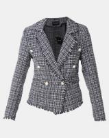 London Hub Fashion Tweed Check Dome Button Frayed Edge Blazer Black Photo