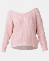 London Hub Fashion Knot Front Detail Jumper Pink Photo