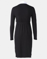 Cherry Melon Twofer Dress With Contrast Collar Black Photo