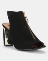 Legit Block Heel Peeptoe Open Heel Sandal with Gold Buckle Black Photo