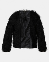 Legit Shiny Fur Jacket Black Photo