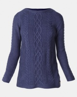 Jeep Acrylic Blend Cable Knit Jersey Blue Melange Photo