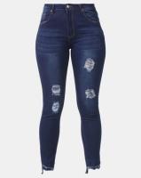 Legit Slant Fray Hem Skinny Jeans Dark Blue Photo