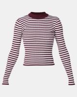 Legit Long Sleeve Stripe Poloneck Pullover White/Burgundy Photo