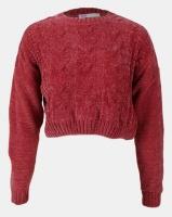 Legit Boxy Chenille Pullover With Cable Design Dark Blush Photo