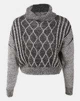 Legit Boxy Roll Neck Pullover With Cable Design Charcoal Photo