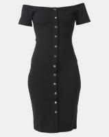 Legit Off The Shoulder Button Front Bodycon Dress Black Photo