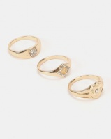 New Look 3 Pack Diamante Signet Rings Gold Photo