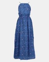 New Look Blue Leopard Print Crochet Front Maxi Dress Photo