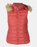 Utopia Coral Sleeveless Puffer With Faux Fur Trim Photo