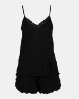 Lila Rose Cami And Short Set Viscose Black Photo