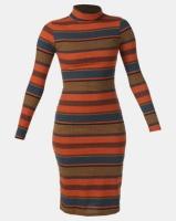 Legit Long Sleeve Poloneck Stripe Tube Dress Multi Photo