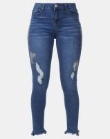 Legit Metallic Paint Chewed Hem Skinny Jeans Stonewash Photo
