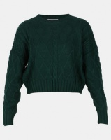 Legit Boxy Pullover with Cable Knit Design Teal Photo