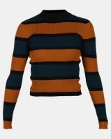 Legit Fitted Stripe Turtleneck Pullover Teal/ Black/ Mustard Photo
