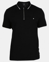 New Look Mens Basic Paul Tipped Zip Polo Black Photo
