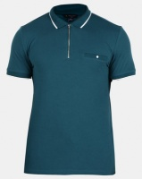 New Look Mens Basic Paul Tipped Zip Polo Shirt Teal Photo