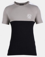 New Look Mens Embroidered Muscle Fit T-Shirt Light Grey Photo