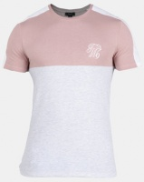 New Look Mens Embroidered Muscle Fit T-Shirt Mid Pink Photo