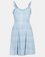 New Look Check Ruffle Trim Sundress Blue Photo