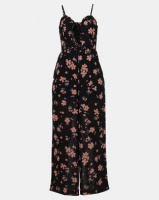 New Look Floral Print Chiffon Jumpsuit Black Photo